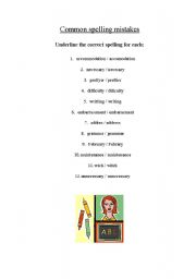 english worksheets common spelling mistakes. Black Bedroom Furniture Sets. Home Design Ideas