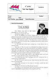 English Worksheet: elsvis presley 6th grade test