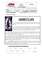 English Worksheets: harry potter test