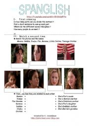 English Worksheets: Spanglish, the film First part