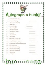 English Worksheets: autograph`s hunter