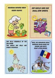 English Worksheet: Tongue Twister small cards - (8 cards) - part I
