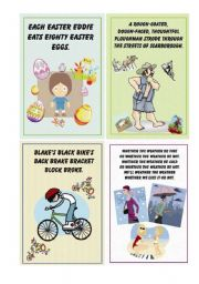 English Worksheet: Tongue Twister - small cards ( 8 cards) - part II