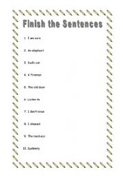 English Worksheets: Finish the Sentences 3