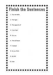 English worksheet: Finish the Sentences 4