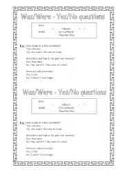 English Worksheet: Was-Were (Yes/No Questions)