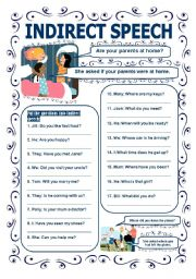 English Worksheet: INDIRECT SPEECH - QUESTIONS