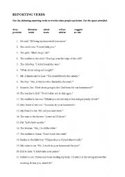 English Worksheet: Some Reporting Verbs (Exercises + Key)