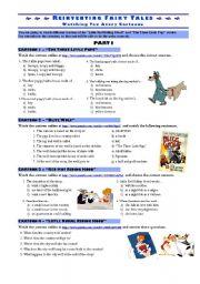 English Worksheet: REINVENTING FAIRY TALES - cartoons worksheet