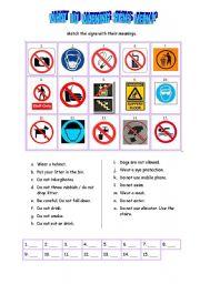 English Worksheets: WARNING SIGNS