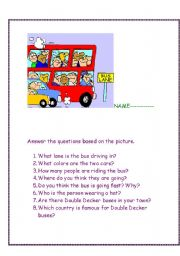 English Worksheet: The Wheels on the bus go.....