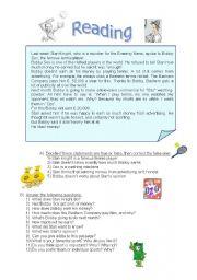 English Worksheet: Tennis money and advertising