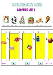 English Worksheet: supermarket game shopping list A