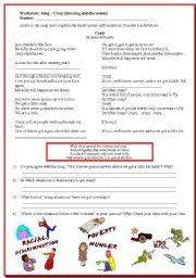 English Worksheets: Song Activity: Crazy by Alanis Morissette (listening and discussion)