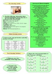 English Worksheets: Listening Natasha Bedingfield