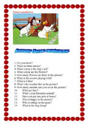 English Worksheets: PICTURE COMPREHENSION