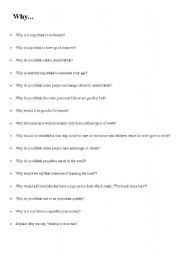 English Worksheet: Why? - Conversation Starters