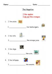 English Worksheets: The Negative