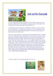 photo relating to Jack and the Beanstalk Printable Story titled Jack and the Beanstalk worksheets