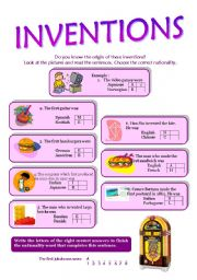 English Worksheet: inventions for nationalities
