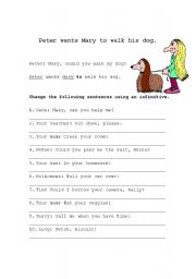 English Worksheets: Peter wants Mary to walk his dog.