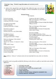 English Worksheets: Song activity - Wind of Change by Scorpions (discussion and reading comprehension)