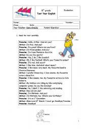 English Worksheet: 5th grade test likes and dislikes, sports