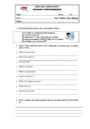 English worksheet reading