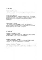 English Worksheets: writing topics