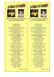 English Worksheets: song - A kind of magic - Queen