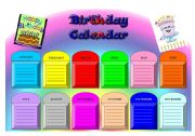 English Worksheet: Birthday Calendar