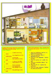 English Worksheet: ROOMS&HOUSEHOLD OBJECTS&THERE IS/ARE&PREPOSITIONS OF PLACE