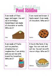English Worksheets: Food Riddles