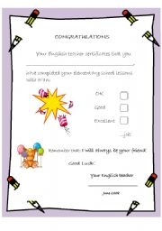 English Worksheet: A great diploma for 4th graders