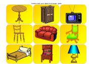 English Worksheets: Furniture cards II - What`s in my house game (part 3 / 4)