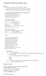 English Worksheet: AMERICAN IDIOT SONG