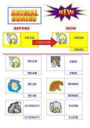 English Worksheet: animal domino game  ***NEW FORM***