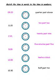 English Worksheet: Match the time to the words in numbers