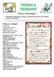 English Worksheet: Friends and Friendship