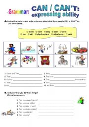 English Worksheet: CAN & CAN�T - Expressing Ability