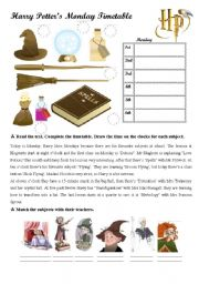English Worksheet: Harry Potter�s School Timetable