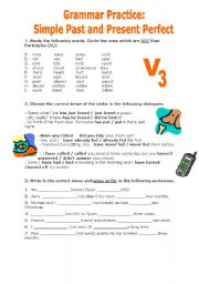 English Worksheet: Grammar Practice: Simple Past vs  Present Perfect