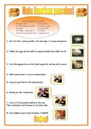 English Worksheet: American Pancakes recipe