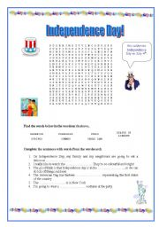 English Worksheet: Independence Day - wordsearch and activity