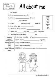 English Worksheet: All about me