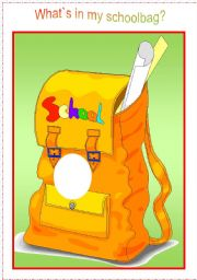 English Worksheet: What`s in my schoolbag - practising school objects with kids (schoolbag and cards)