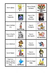 English Worksheets: Cartoon characters domino verb live