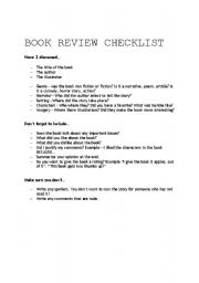 English Worksheet: Book Review Checklist