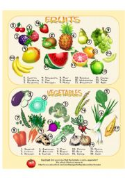 English Worksheet: Fruits & Vegetables - Picture Dictionary