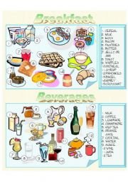 English Worksheet: Food - Breakfast and Beverages - Picture Dictionary